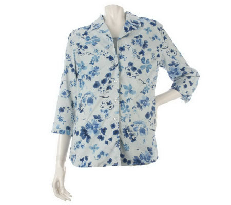 Denim & Co. 3/4 Sleeve Watercolor Print Shirt with Knit Tank
