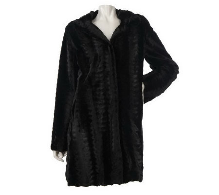 Dennis Basso A-line Textured Faux Fur Coat