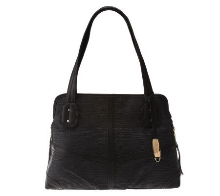 B. Makowsky Straw Shopper with Leather Trim and Zipper Pockets