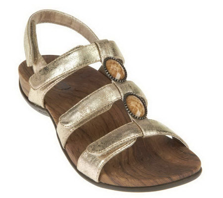 Vionic w/ Orthaheel Yasmin Orthotic Metallic Triple Strap Sandals