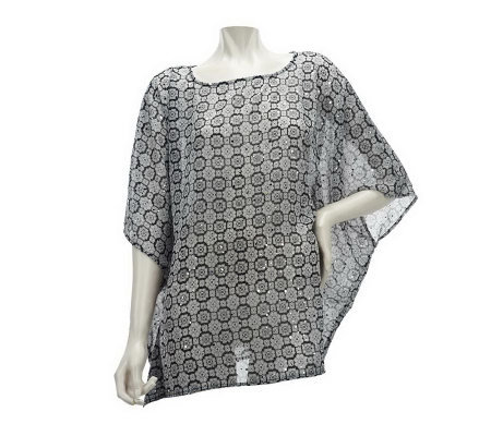 Susan Graver Printed Chiffon Bateau Neck Scarf Top with Sparkles