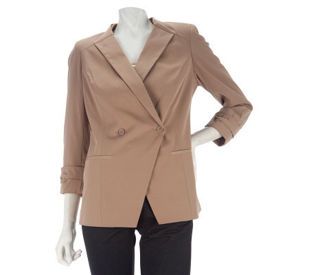 Kris Jenner Kollection 3/4 Sleeve Ruched Cuff Blazer
