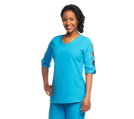Susan Graver Weekend Cotton Gauze Top with Lattice Detail