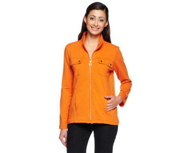 Susan Graver Weekend French Terry Zip Front Jacket - A234997