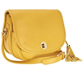 Isaac Mizrahi Live! Bridgehampton Pebble Leather Crossbody - A236697