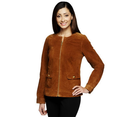 Liz Claiborne New York Zip Front Suede Jacket w/ Turnlocks