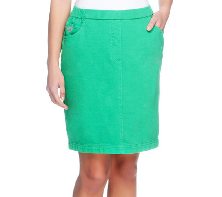 Quacker Factory DreamJeannes Pull-on Knit Skort