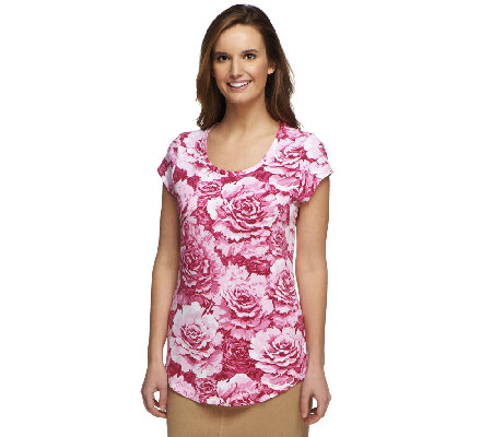 Isaac Mizrahi Live! Cabbage Floral Printed Knit T-Shirt