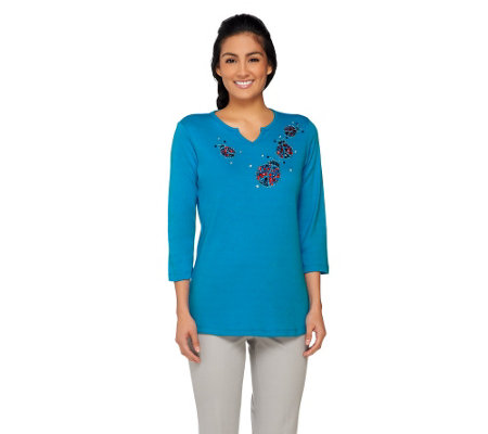 Quacker Factory Summer Beaded Splitneck 3/4 Sleeve T-shirt
