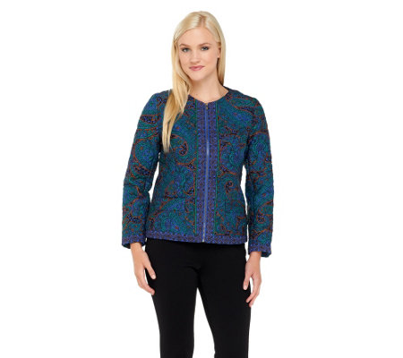Isaac Mizrahi Live! Paisley Quilted Zip Front Jacket