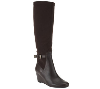 Isaac Mizrahi Live! Leather and Stretch Fabric Wedge Boots - A258597