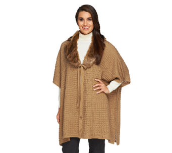 Dennis Basso Regular Sweater Poncho with Faux Fur - A259797