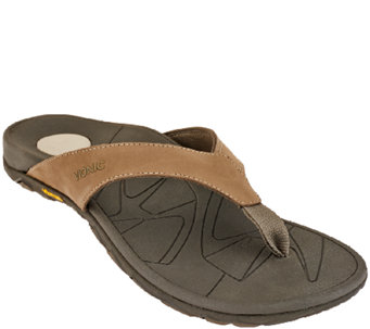 Vionic w/ Orthaheel Men's Orthotic Leather Thong Sandals - Bryce - A266297
