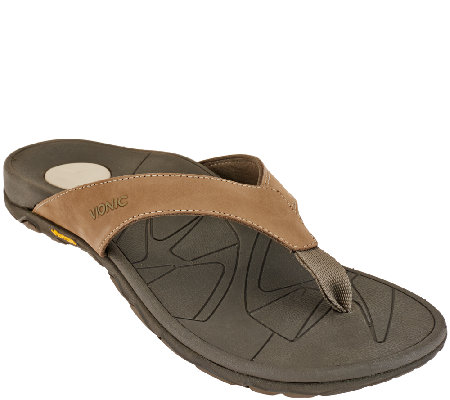 Vionic w/ Orthaheel Men's Orthotic Leather Thong Sandals - Bryce