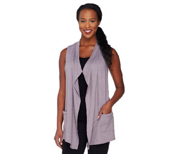 """As Is"" LOGO Lounge by Lori Goldstein French Terry Vest w/ Chiffon - A269897"