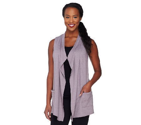 """As Is"" LOGO Lounge by Lori Goldstein French Terry Vest w/ Chiffon"