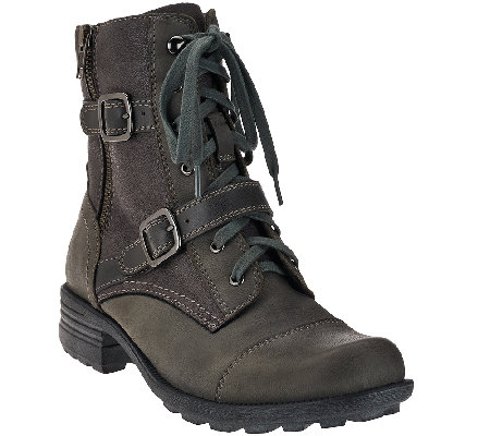 Earth Origins Leather Buckle Ankle Boots - Perrie