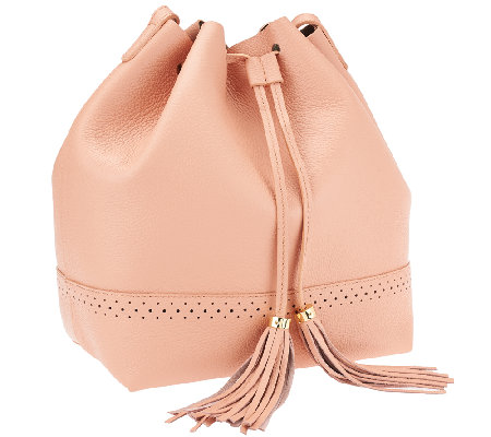 """As Is"" Isaac Mizrahi Live! Bridgehampton Leather Bucket Bag"