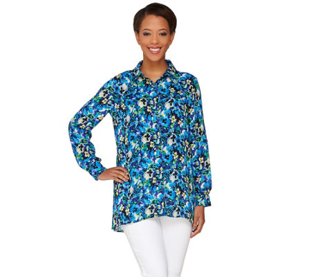 """As Is"" Joan Rivers Button Front Pansy Print Blouse"