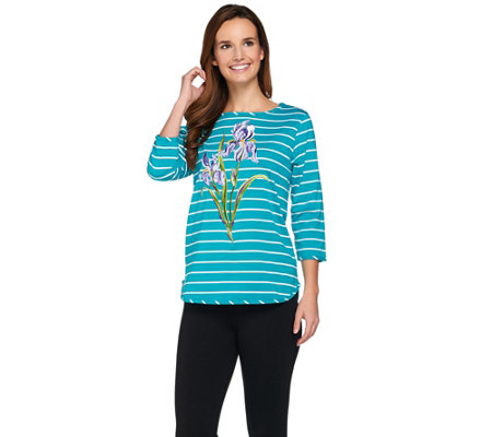 Bob Mackie's Floral Embroidered Striped Knit Top