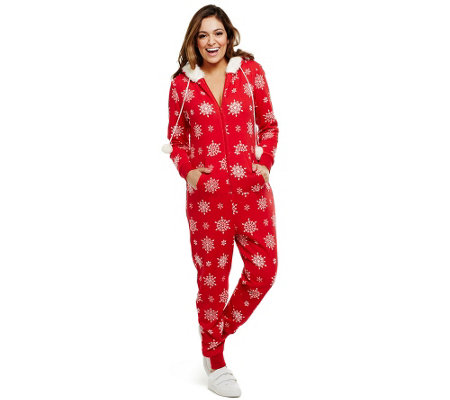 Bethany Mota Zip Front Hooded Snowflake Print Jumpsuit