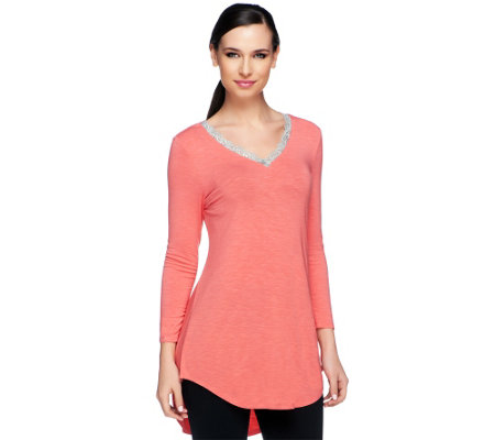 """As Is"" LOGO by Lori Goldstein V-neck Slub Knit Top with Lace Trim"