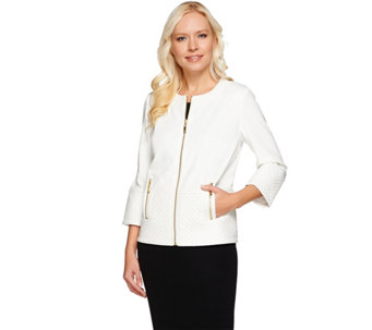 Dennis Basso Ponte Cropped Jacket with Quilted Faux Leather Trim - A274897