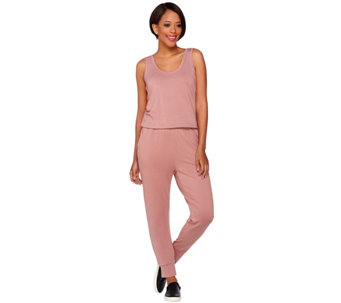 LOGO Lounge by Lori Goldstein French Terry Sleeveless Jumpsuit - A274997