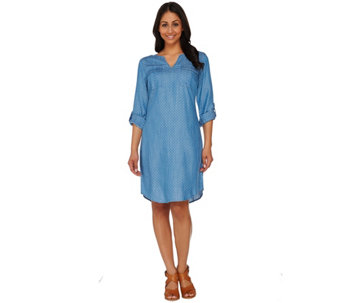 C. Wonder Polka Dot Print Chambray Shirt Dress with Pockets - A275097