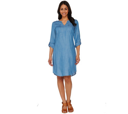 C. Wonder Polka Dot Print Chambray Shirt Dress with Pockets