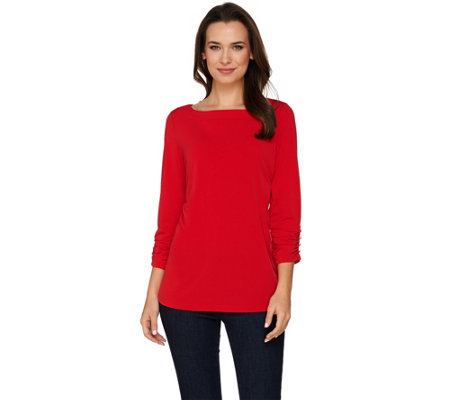 Susan Graver Liquid Knit Bateau Neck 3/4 Sleeve Top