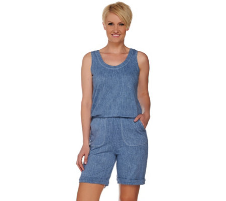 LOGO Lounge by Lori Goldstein Printed French Terry Romper with Pockets