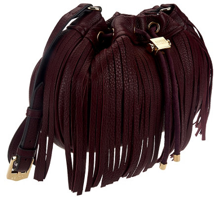 """As Is"" Aimee Kestenberg Pebble Leather Fringe Crossbody"