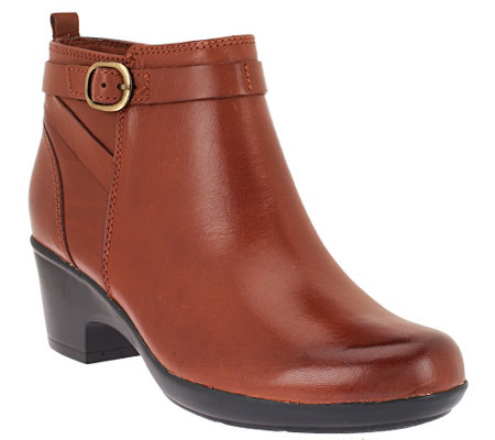 """As Is"" Clarks Leather Ankle Boots w/ Buckle Detail - Malia Hawthorn"