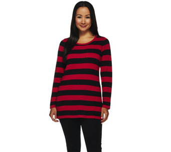 """As Is"" Susan Graver Striped Cotton Rayon Nylon Button Back Sweater - A276197"