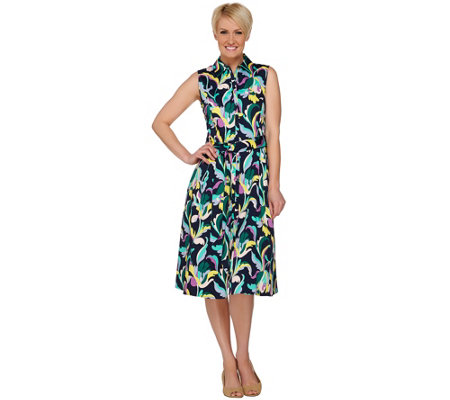 Isaac Mizrahi Live! Deco Floral Printed Shirt Dress