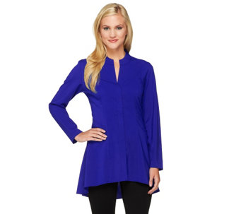 """As Is"" Attitudes by Renee Hi-Low Hem Blouse with Bottom Pleats - A276897"