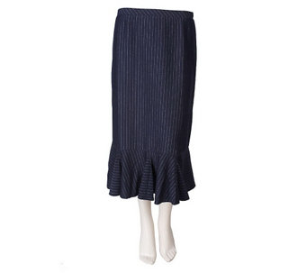 """As Is"" George Simonton Metallic Flounce Hem Knit Skirt - A276997"