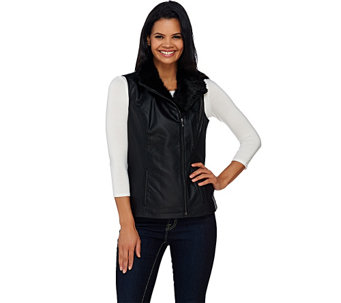 """As Is"" Dennis Basso Faux Leather Moto Vest with Faux Fur Collar - A277697"