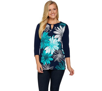 Susan Graver Printed Liquid Knit Tunic with Keyhole Trim - A277797