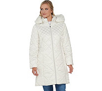 Isaac Mizrahi Live! Mixed Quilting Puffer Coat with Removable Hood - A281797