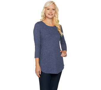 LOGO Layers by Lori Goldstein Waffle Knit Top w/ 3/4 Sleeves & Shirttail Hem - A282997