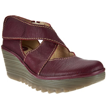 """As Is"" FLY London Leather Adj. Criss Cross Strap Wedges - Yogo - A283597"