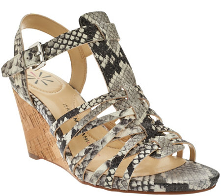 """As Is"" Isaac Mizrahi Live! Leather Fisherman Wedge Sandals"