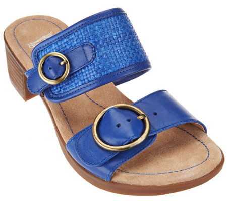 """As Is"" Dansko Leather Double Strap Block Heel Slide Sandals - Lenny"