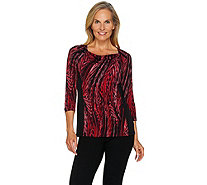 Susan Graver Printed Liquid Knit Drape Front Top w/ Solid Insets - A284797