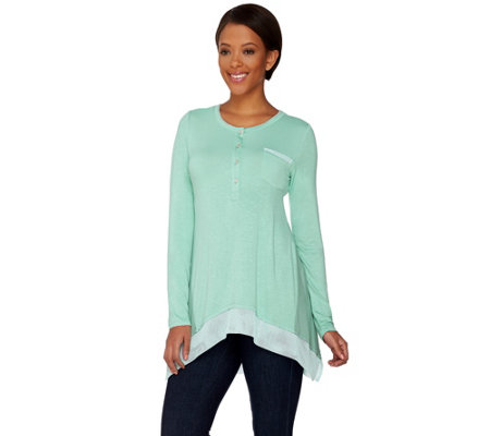 """As Is"" LOGO by Lori Goldstein Henley Slub Knit Top with Mesh Trim"