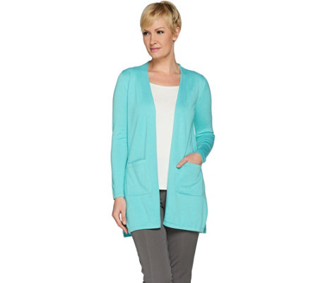 Isaac Mizrahi Live! Essentials Open Front Cardigan with Pockets