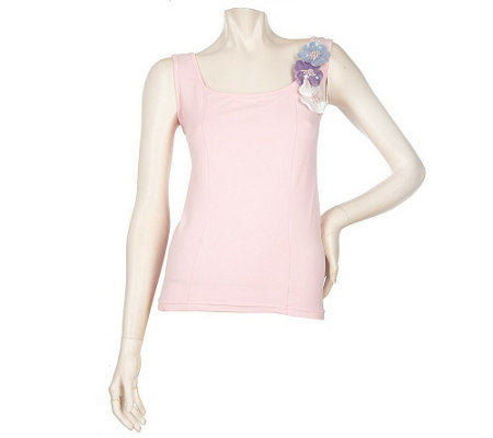 """As Is"" Kathleen Kirkwood ""Bejeweled"" Flowers Tank"