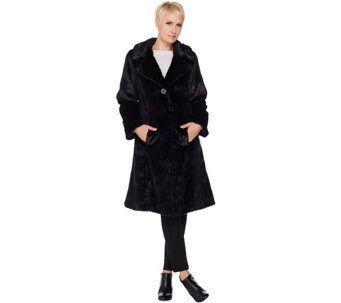 Dennis Basso Platinum Collection Knee Length Faux Mink Coat - A287497